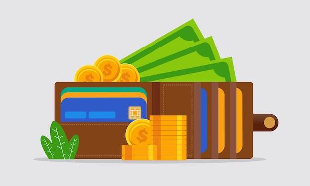 Geldwinst en verdienconcept platte vectorillustratiebanner en bestemmingspagina