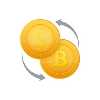 Geldwisselpictogram bank- en crypto-valutateken bitcoin en dollar contant geldoverdrachtsymbool