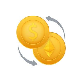 Geldwisselpictogram bank- en crypto-valutateken ethereum en dollar contante overdracht