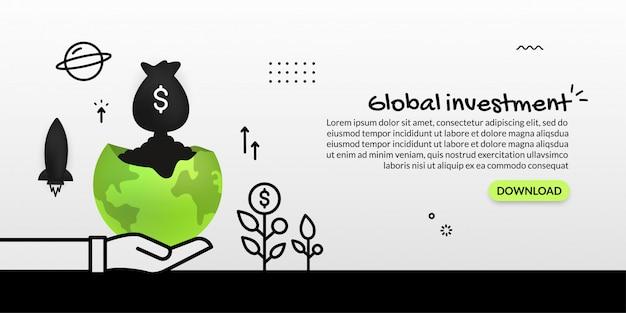 Geldzak die van planeet op witte achtergrond, globale bedrijfsinvestering lanceren