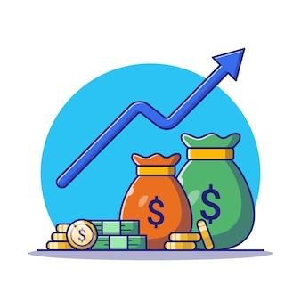 Geldzak en cent met groeiende afbeelding