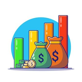 Geldzak en cent met groeiende grafiek