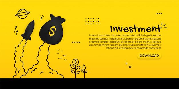 Geldzak en ruimteschip die op gele achtergrond, investeringsconcept lanceren