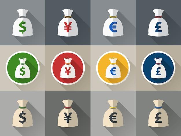 Geldzak icon set met valuta symbool plat ontwerp verctor