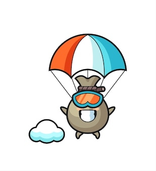Geldzak mascotte cartoon parachutespringen met gelukkig gebaar