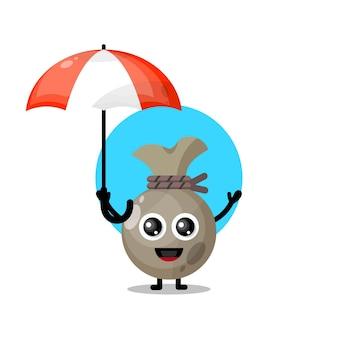 Geldzak paraplu schattig karakter mascotte