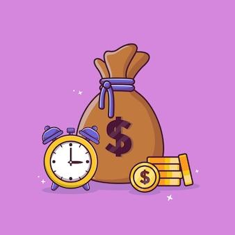 Geldzak wekker en contant geld munten met dollar concept gouden munten vector pictogram ontwerp