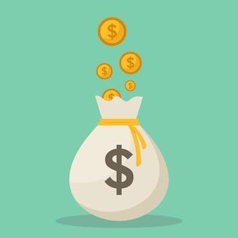 Geldzakken en muntstukken vlakke ontwerp vectorillustratie