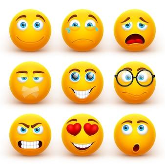 Gele 3d emoticons instellen. grappige smileygezichtspictogrammen met verschillende uitdrukkingen.