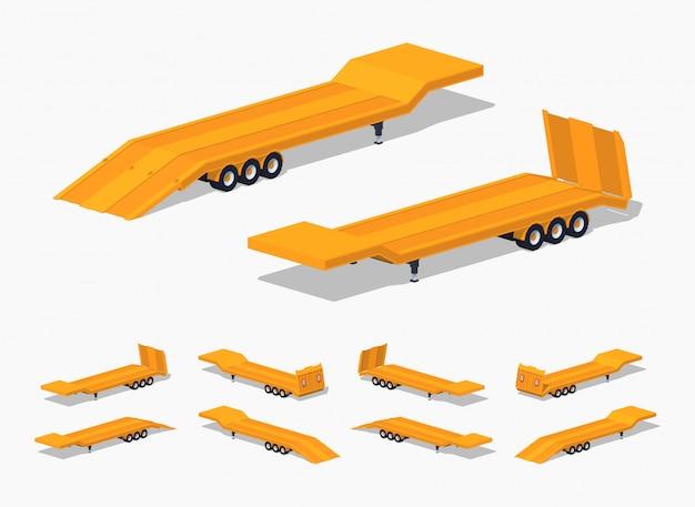 Gele 3d low-poly isometrische dieplader