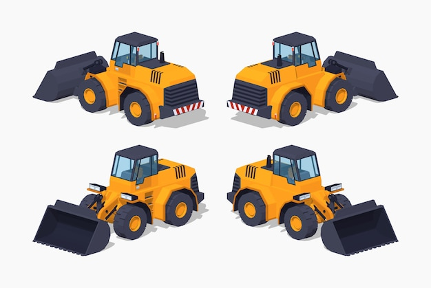 Gele 3d lowpoly isometrische zware bulldozer