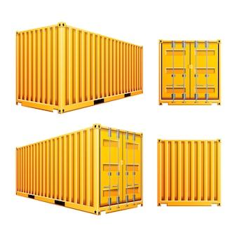 Gele 3d-vrachtcontainer