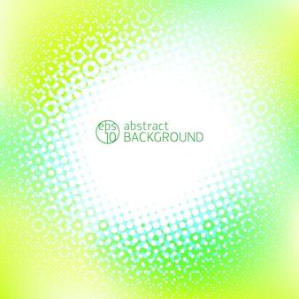 Gele abstracte achtergrond met witte ruimte in het midden en lichte stippen rond