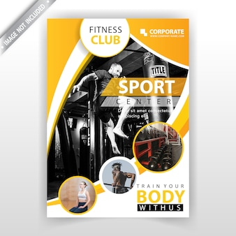 Gele abstracte fitness-flyer