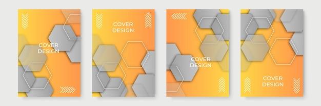 Gele abstracte geometrische omslagontwerpen met kleurovergang, trendy brochuresjablonen, kleurrijke futuristische posters. vector illustratie