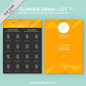 Gele abstracte zomer cocktails lijstsjabloon