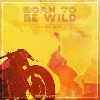 Gele achtergrond aquarel van de motorfiets met inspirational uitdrukking