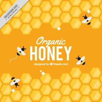 Gele achtergrond korf met bijen