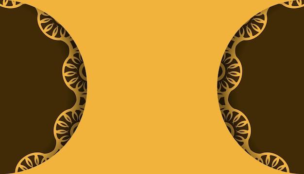 Gele achtergrond met abstract bruin ornament en logoruimte