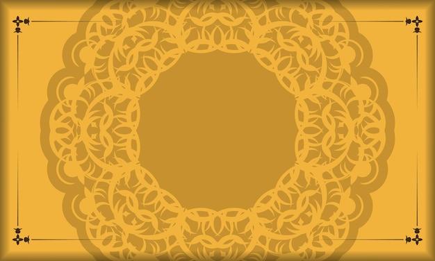 Gele achtergrond met abstract bruin ornament en plaats voor logo of tekst