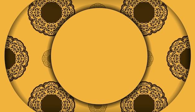 Gele achtergrond met abstract bruin ornament voor ontwerp onder uw logo