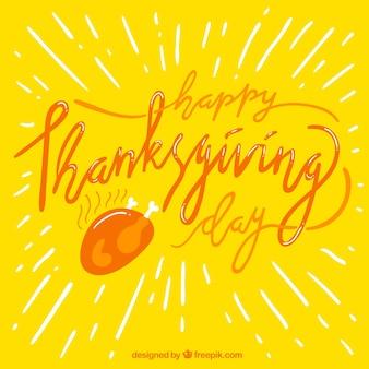 Gele achtergrond met dankzegging letters