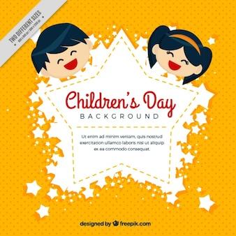 Gele achtergrond met de dag van kinderen badge