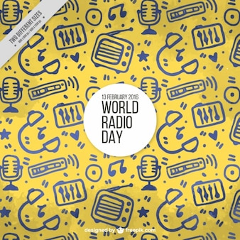 Gele achtergrond met de hand getekende objecten voor de wereld van radio-dag