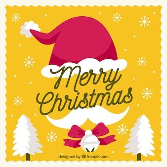 Gele achtergrond met elementen van de kerstman