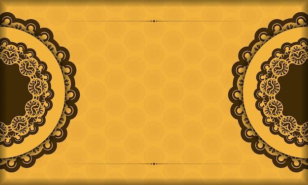 Gele achtergrond met griekse bruine ornamenten en een plek voor uw logo
