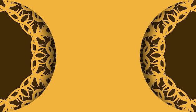 Gele achtergrond met griekse bruine ornamenten voor ontwerp onder uw logo