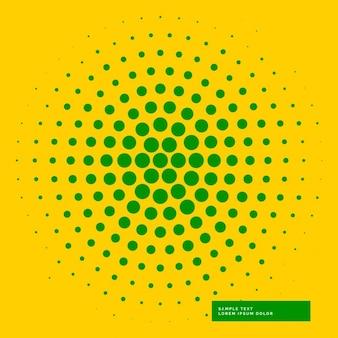 Gele achtergrond met groene cirkel haftone