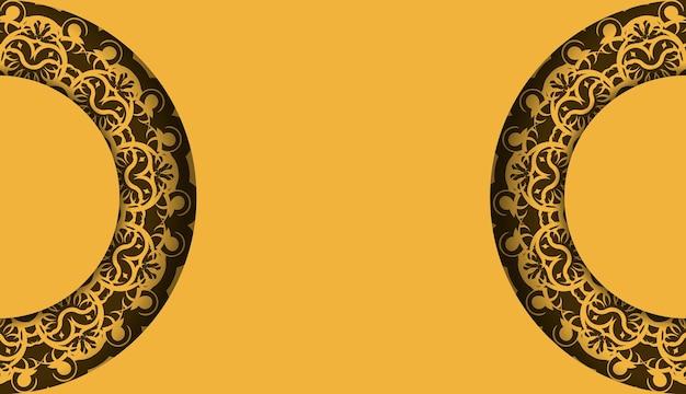 Gele achtergrond met indiase bruine ornamenten en logoruimte