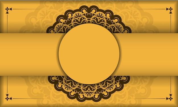 Gele achtergrond met indiase bruine ornamenten voor logo-ontwerp