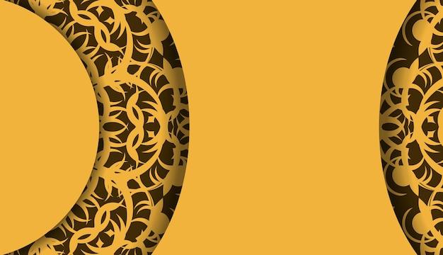 Gele achtergrond met indiase bruine ornamenten voor ontwerp onder uw logo