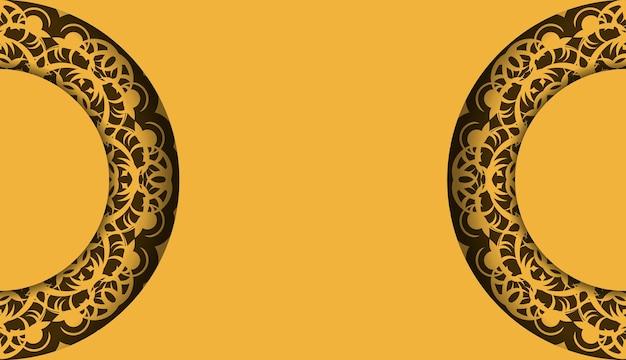 Gele achtergrond met luxe bruin patroon en plaats voor logo of tekst