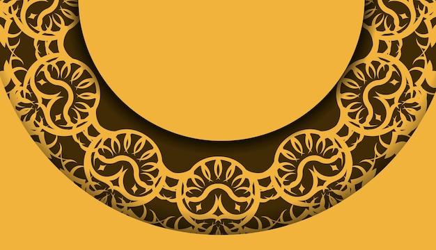 Gele achtergrond met luxe bruine versieringen en logoruimte