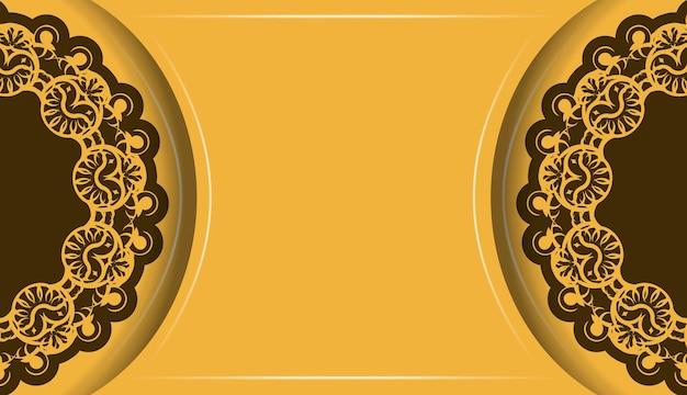 Gele achtergrond met luxueus bruin patroon voor logo-ontwerp