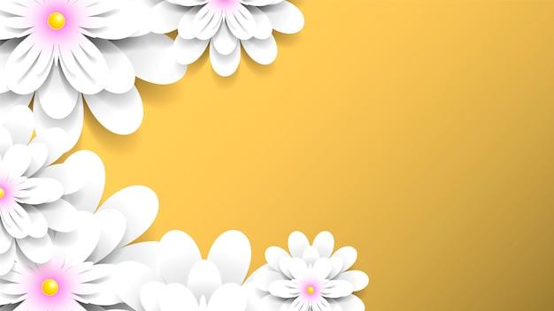 Gele achtergrond met realistische witte bloemen