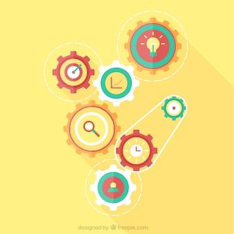 Gele achtergrond met versnellingen in plat ontwerp