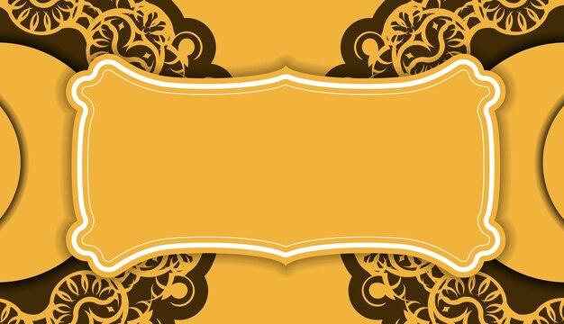 Gele achtergrond met vintage bruin ornament en logoruimte