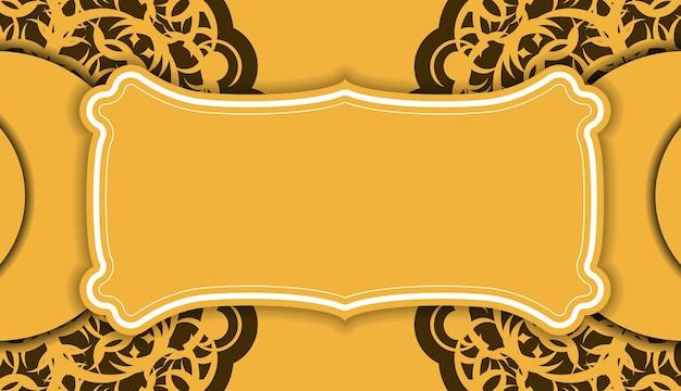 Gele achtergrond met vintage bruin ornament voor ontwerp onder uw logo