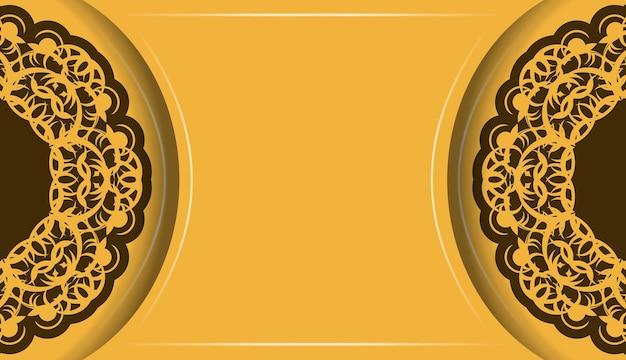 Gele achtergrond met vintage bruin patroon en plaats voor logo of tekst