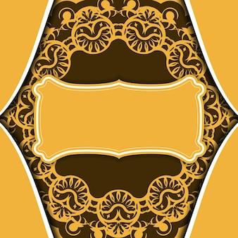 Gele achtergrond met vintage bruin patroon voor logo-ontwerp