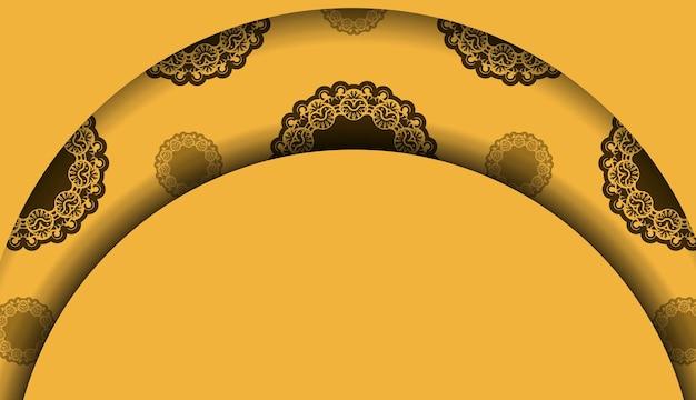 Gele achtergrond met vintage bruine ornamenten en logoruimte