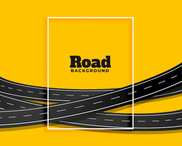 Gele achtergrond van kromme de buigende wegen