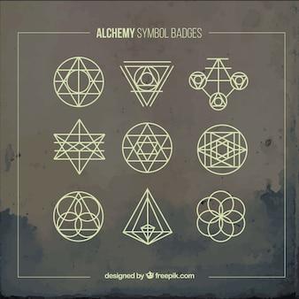 Gele alchemie symbolen badges