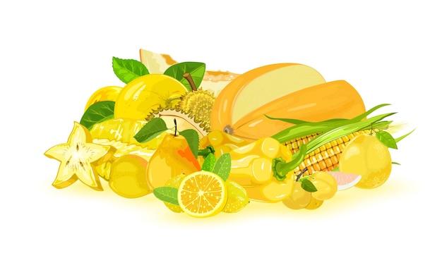 Gele appel, meloen, carambola, maïs, citroen, paprika, peer, myrobalan, pomelo, durian.