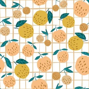 Gele appels en bladeren naadloos patroon op streepachtergrond. ontwerp voor stof, textielprint, inpakpapier, kindertextiel. vector illustratie