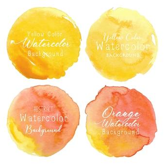 Gele aquarel cirkel set